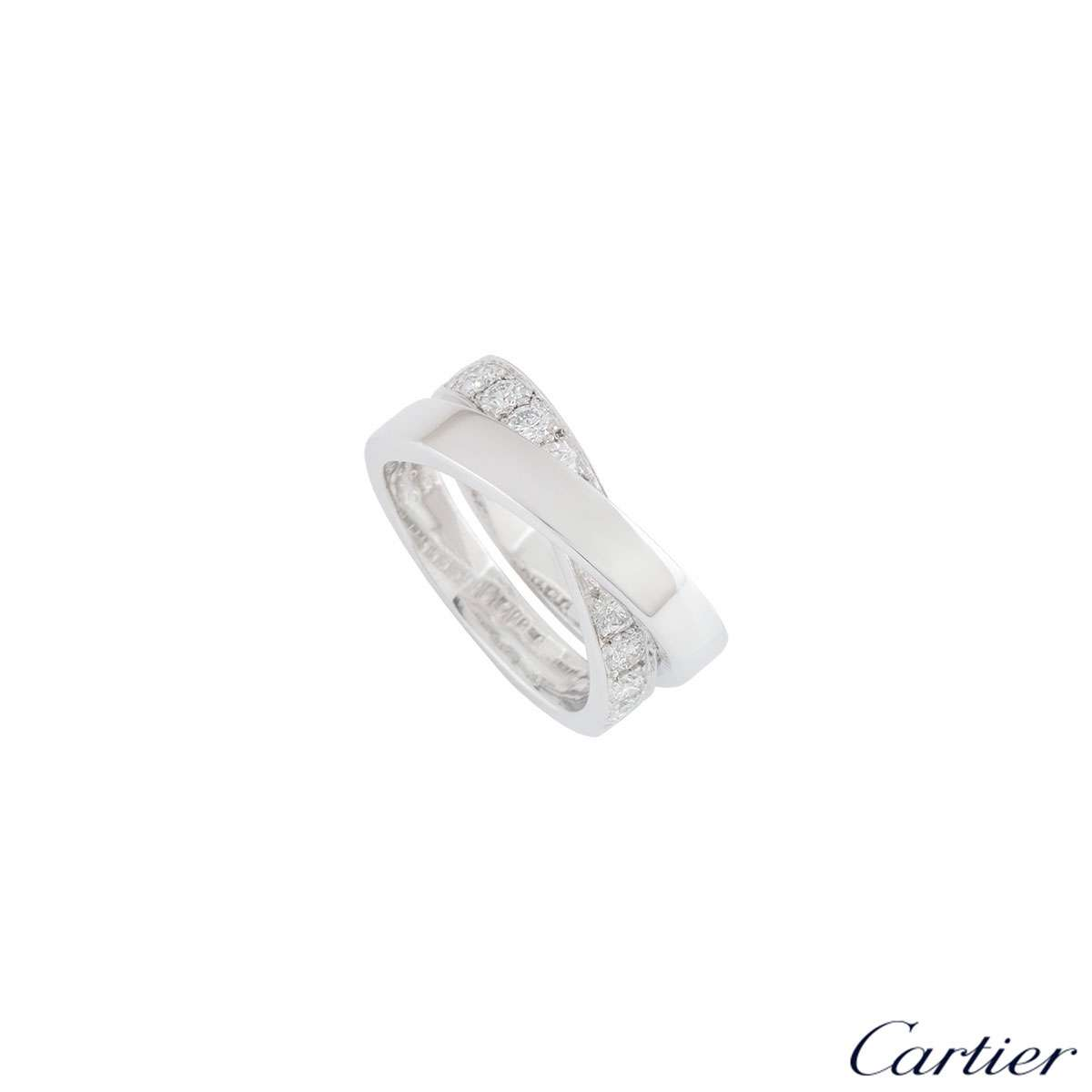 Cartier White Gold Paris Nouvelle Vague Diamond Ring Size 56